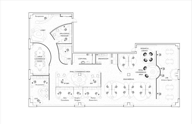Architectural floorplan of an office suite
